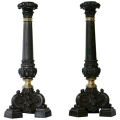 Italian Late 19th Century Pair of Antique Brass Candleholders