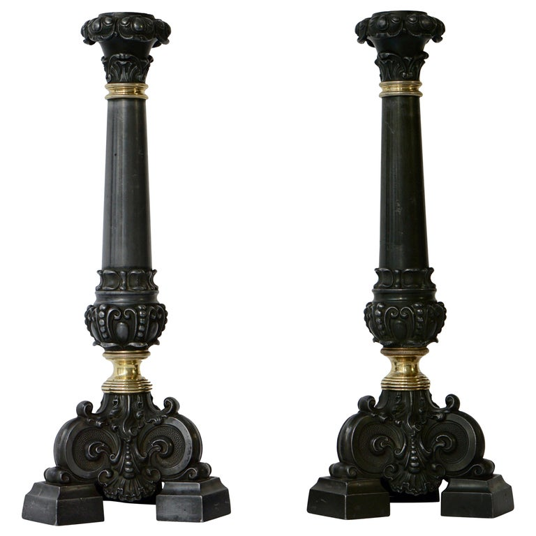 Italian Late 19th Century Pair of Antique Brass Candleholders For Sale