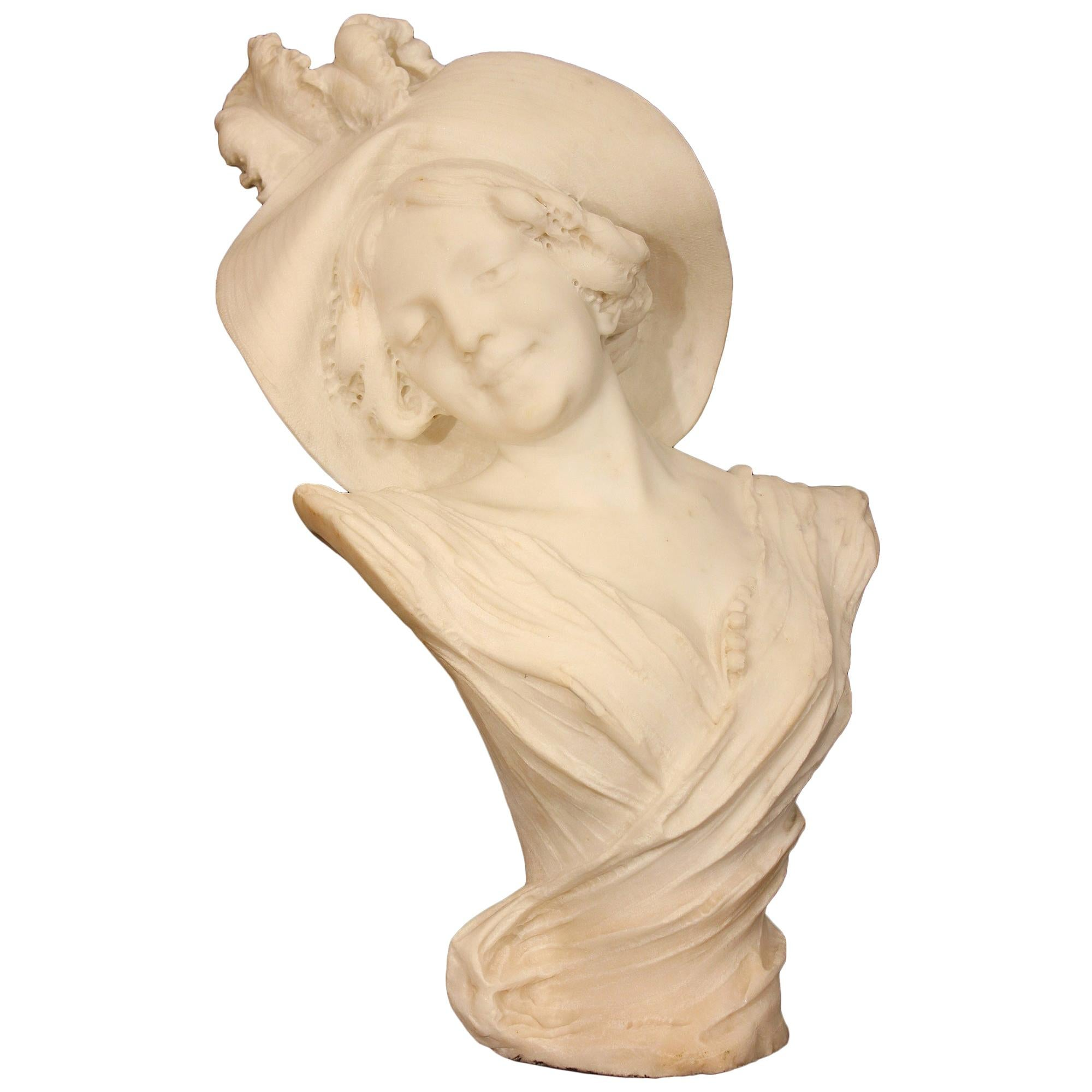 Italian Late 19th Century White Carrara Marble Bust, Signed Filli Pugi, Firenze