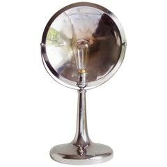 Italian Late Art Deco Chrome and Black Enamel Adjustable Desk Lamp by Zerowatt