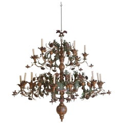 Italian Late Baroque Giltwood & Polychrome Painted Iron 18-Arm Chandelier, 18thc