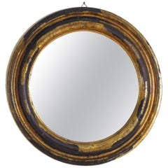 Italian Late Baroque Round Parcel-Gilt & Rolled Silver Mirror, Late 17th Century