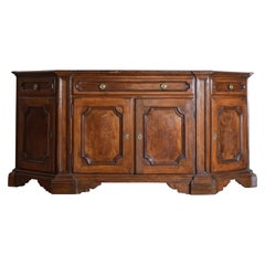 Italian Late Baroque Style Walnut Scantonata Credenza, 19th Century