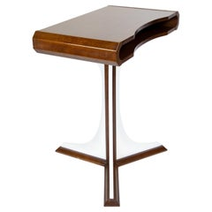 Italian Late Mid-Century Modern Wooden Brown White Desk or Side Table, 1970s