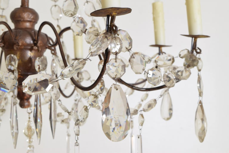 Italian Late Neoclassic Giltwood, Iron, and Glass 8-Light Chandelier, circa 1835 For Sale 7
