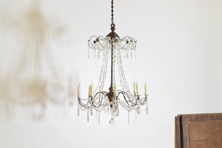 Louis Philippe Italian Late Neoclassic Giltwood, Iron, and Glass 8-Light Chandelier, circa 1835 For Sale