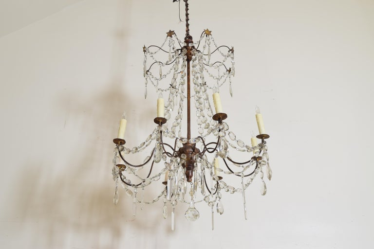 Italian Late Neoclassic Giltwood, Iron, and Glass 8-Light Chandelier, circa 1835 In Good Condition For Sale In Atlanta, GA