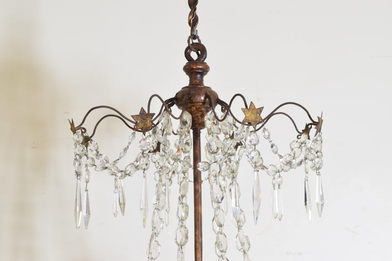Mid-19th Century Italian Late Neoclassic Giltwood, Iron, and Glass 8-Light Chandelier, circa 1835 For Sale