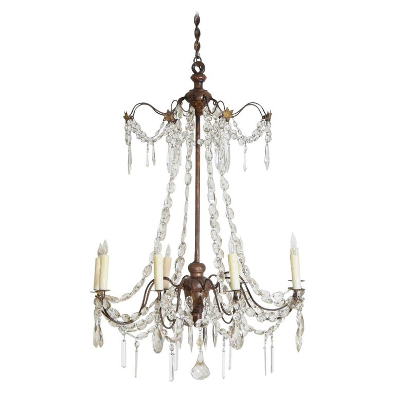 Italian Late Neoclassic Giltwood, Iron, and Glass 8-Light Chandelier, circa 1835 For Sale