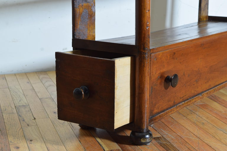 Italian Late Neoclassic Walnut Étagère with Two Side Drawers, Mid-19th Century For Sale 6