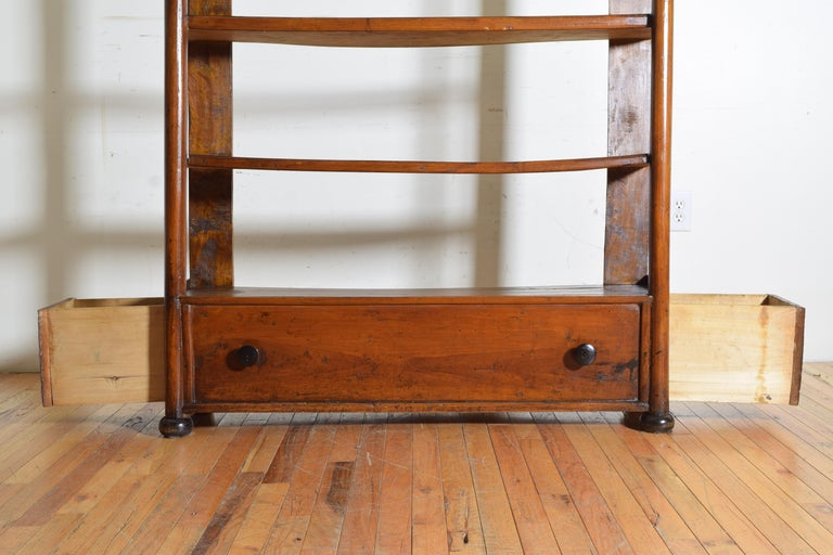 Italian Late Neoclassic Walnut Étagère with Two Side Drawers, Mid-19th Century For Sale 5