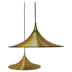 Italian Lathed Metal Brass Finishing Hanging Lamps, 1970s