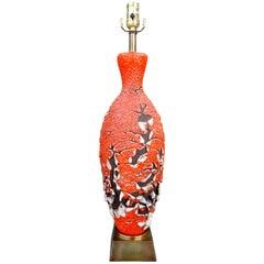 "Italian ""Lava"" Glaze Table Lamp after Marcello Fantoni"