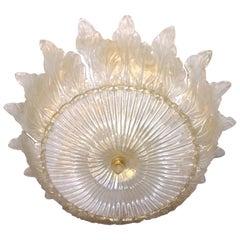 Italian Leaf Decor Pearl White and Gold Murano Glass Flush Mount Chandelier 1980