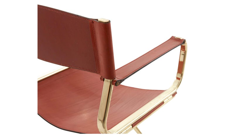 Italian Leather And Brass Director Chair For Sale At 1stdibs