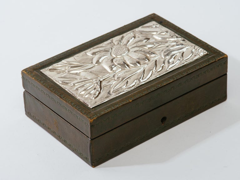 Art Deco Italian Leather and Silver Repousse Jewelery Box For Sale