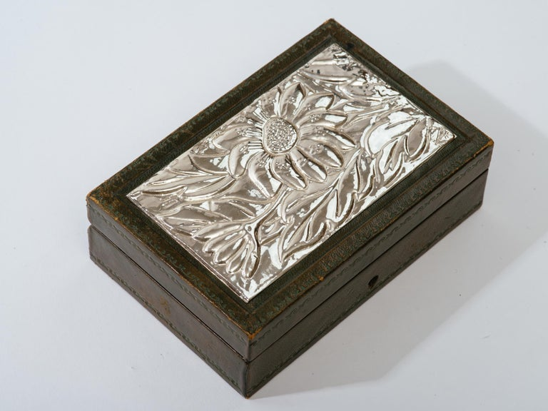 Repoussé Italian Leather and Silver Repousse Jewelery Box For Sale