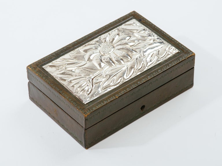 Italian Leather and Silver Repousse Jewelery Box In Good Condition For Sale In New York, NY