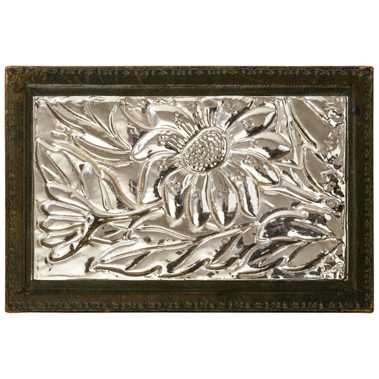 Italian Leather and Silver Repousse Jewelery Box For Sale