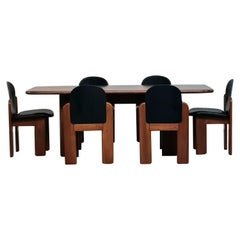 Italian Leather and Beech Chairs and Table by Coppola for F.lli Montina, 1960s