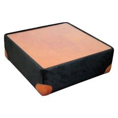 Italian Leather and Velvet Square Low Table, 1970s