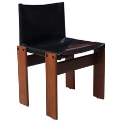 Italian Leather and Walnut Monk Chair by Afra & Tobia Scarpa for Molteni, 1970s