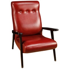 Italian Leather Armchair in Red Imitation Leather, 20th Century