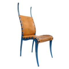 "Italian Leather and Blue-Lacquered Wood ""Horn"" Chair"