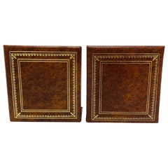 Italian Leather Bookends with Gold Debossed Border, Pair, 1960s
