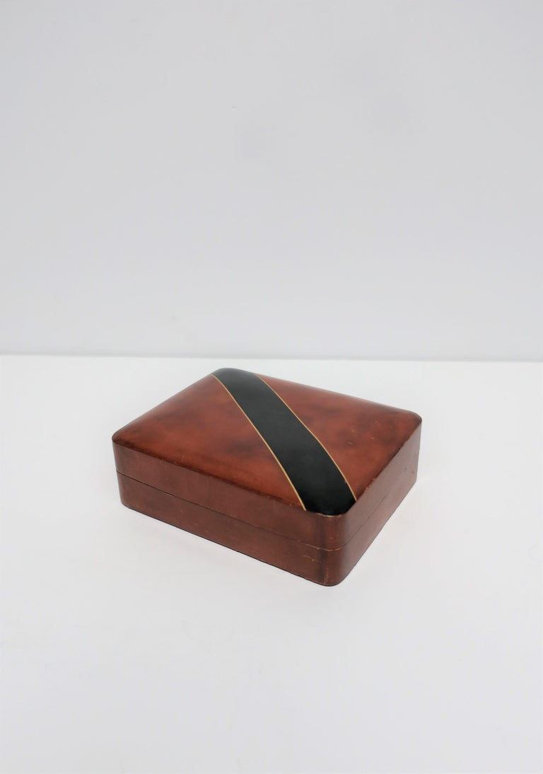Embossed Italian Leather Black and Gold Jewelry Box For Sale