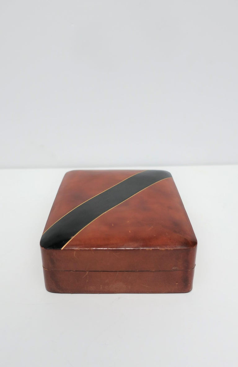 20th Century Italian Leather Black and Gold Jewelry Box For Sale