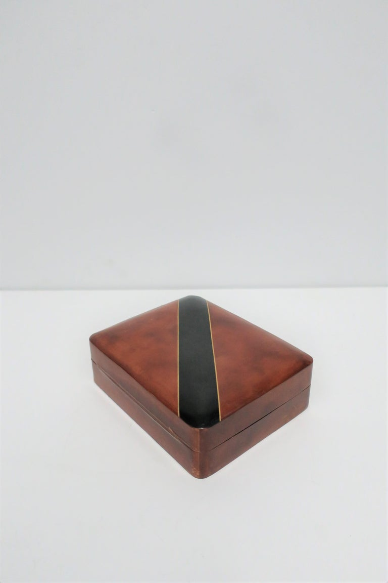 Italian Leather Black and Gold Jewelry Box For Sale 2