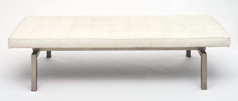 Italian Leather Contemporary Bench