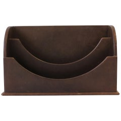Italian Leather Desk Letter Holder Organizer
