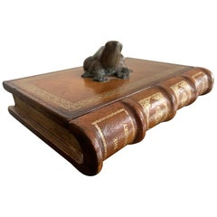 Italian Leather Faux Book Box with Bronze Frog