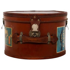 Italian Leather Hatbox with Steel Inserts and Period Stickers, 1930s
