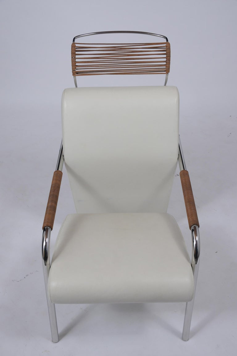 Late 20th Century Italian Leather Lounge Chair with Ottoman For Sale