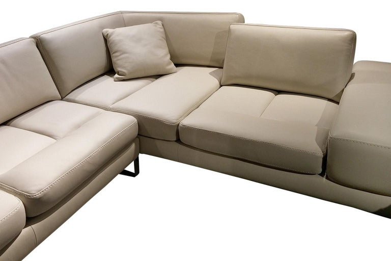 Modern Italian Leather Sectional with Adjustable Back Cushions For Sale