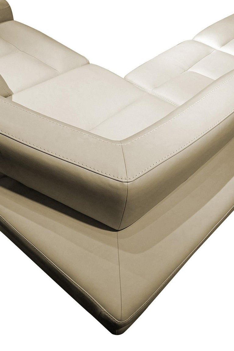 European Italian Leather Sectional with Adjustable Back Cushions For Sale