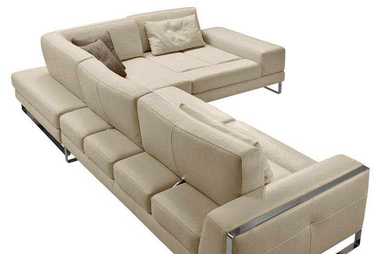 Contemporary Italian Leather Sectional with Adjustable Back Cushions For Sale