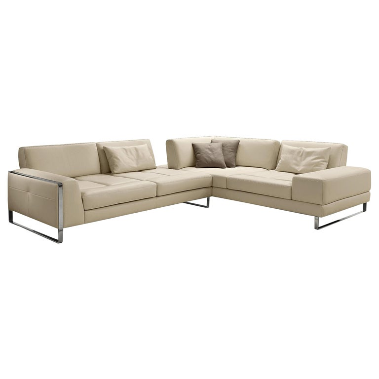 Italian Leather Sectional with Adjustable Back Cushions For Sale