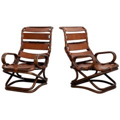 Italian Leather Sling Chairs