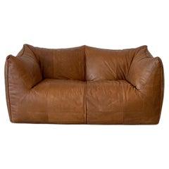 Italian Leather Sofa by Mario Bellini le Bambole for B&B Italia 1970s