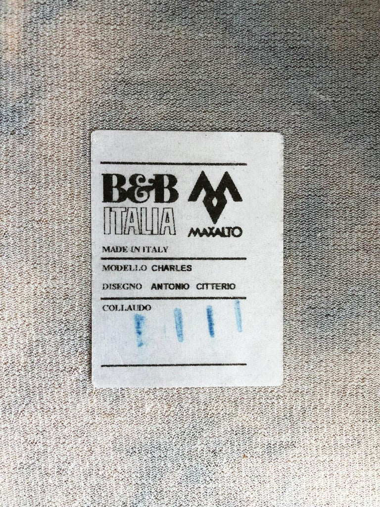 Italian Leather Sofa Model Charles by Antonio Citterio for B&B Italia For Sale 4