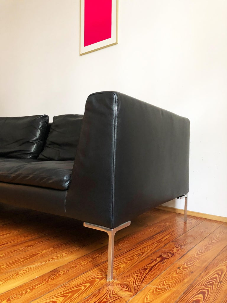 Brushed Italian Leather Sofa Model Charles by Antonio Citterio for B&B Italia For Sale