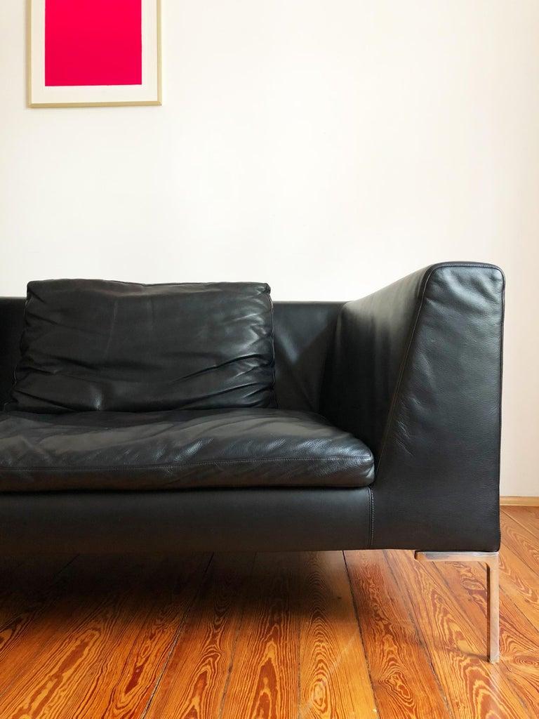 Italian Leather Sofa Model Charles by Antonio Citterio for B&B Italia In Good Condition For Sale In Munich, Bavaria