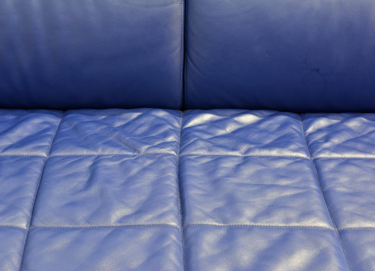 Steel Italian Leather Sofa or Chaise by Studio Cerri & Associati for Poltrona Frau For Sale