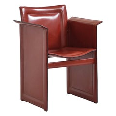 Italian Leather Solaria Low Back Armchair in Wine for Arrben