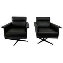 Italian Leather Swivel Chairs, Pair