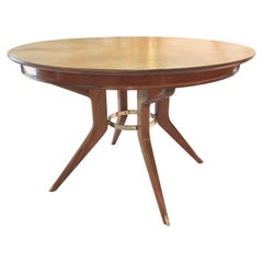 Italian Leather Top Modernist Dining Table